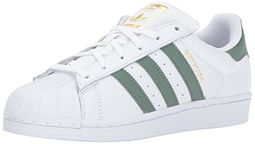 adidas Originals Boys' Superstar J, White/Trace Green/Metallic Gold, 4 Medium US Big Kid