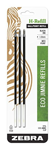 Zebra Eco Jimnie Clip H-Refill, Medium Point, 1.0mm, Black Ink, 3-Count