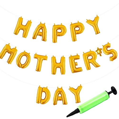 Happy Mother's Day Golden Balloons Banner with Mini