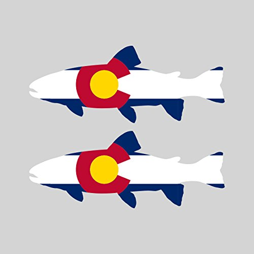 Two Pack Colorado State Shaped Trout Sticker FA Graphix Vinyl Decal CO fly fishing fish