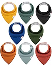 ALVABABY Bandana Drool Bibs 8 Pack Of Drooling Teething Feeding Super Absorbent 100% Cotton Reusable Washable Bibs Unisex For Boys And Girls Newborn Infant Toddler Baby Gifts 8SD27