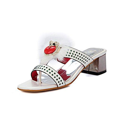 QIN&X Bloque de Mujer Tacones Peep Toe Sandalias White