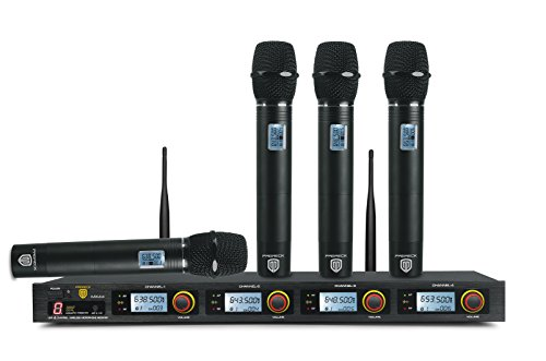 4 Channel Professional Karaoke - PRORECK MX44 4-Channel UHF Wireless Microphone System with 4 Hand-held Microphones Karaoke Machine 200FT Operating Range for Party/Wedding/Church/Conference/Speech(638.5MHz 643.5MHz 648.5MHz 653.5MHz)