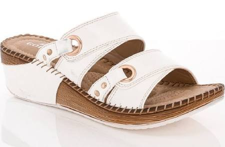 Women's Double Strap Wedge Sandals - 6 US (white)