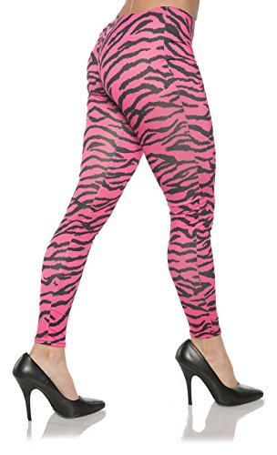 Women's Retro 80's Zebra Leggings - Pink Zebra, X-Small