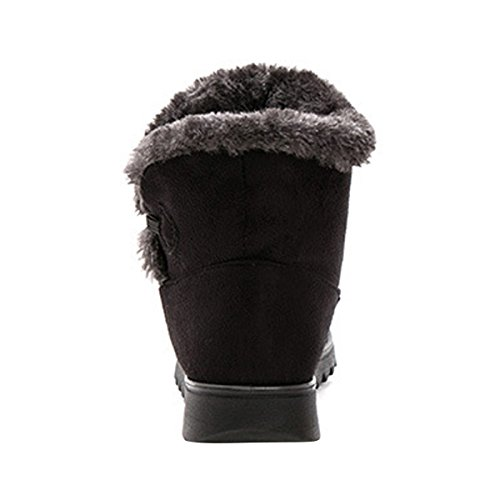 VFDB Botton Boots Ankle Platform Slip On Black Winter Booties Fur Women Warm Snow 44wSqfC