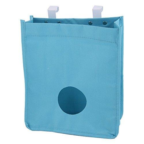 eDealMax Tissu Oxford Cuisine Mnage Placard Portes suspendues ordures poche Porte sac de Rangement en Plastique bleu