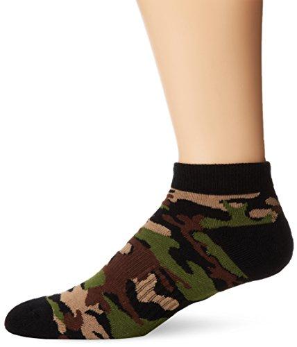 K. Bell Socks Men's Sports Camo Low Cut Sock, Dark Olive, 10-13/Shoe size 6-12