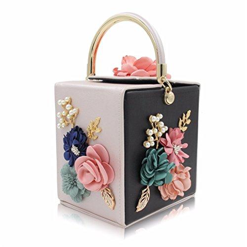 Black Handbags Clutches Flower Beige Ladies Wedding Day Clutch Bag Handbag Evening Women Blue rnrR78