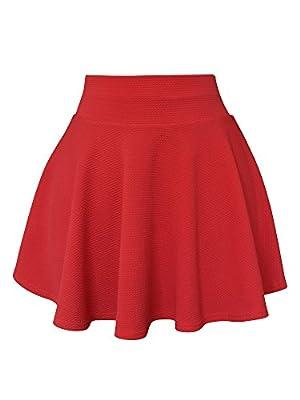 XiYu Big Girls Juniors Flared Mini Short Skirts - Classic Stretch Waist Skater Casual Skirt Pleated Solid