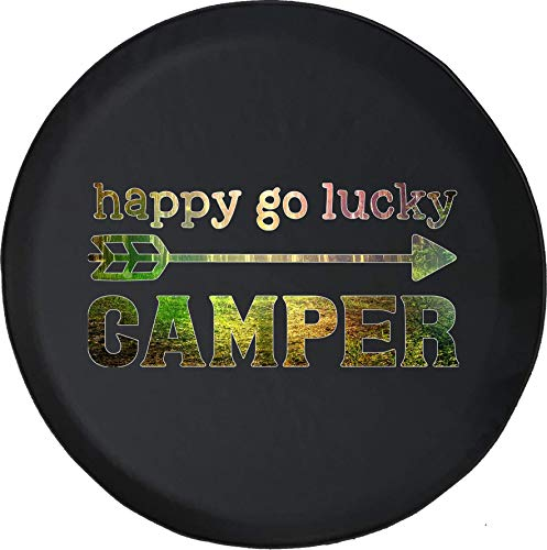 Spare Tire Cover Happy Go Lucky Camper Woods Nature fits SUV or RV Accessories Camper Size 31 Inch