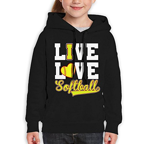 Starcleveland Teenager Pullover Hoodie Sweatshirt Live Love Softball Teen's Hooded For Boys Girls by Starcleveland