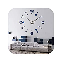 DIY 3D Wall Clock Europe Stickers Large Decorative Mounted House Clock On The Wall,Deep Blue,37 Inch