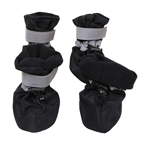 royalwise Anti-Slip Doggie Boots Pet Dog Cat Tiny Shoes Black Soft Dog Sock for Cold Weather Small Dogs 1-5lb (S, SprBlack) (Best Dog Shoes For Cold Weather)