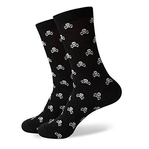 Skull and Crossbones Patterned Men's Cotton Blend Dress Socks (447) ()