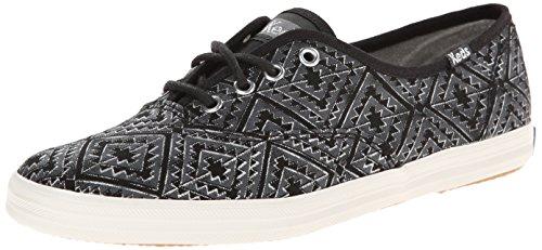 Keds Women's Champion Tribal Metallic Fashion Sneaker, Black, 7.5 M US