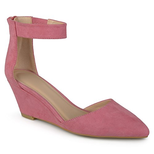 [Journee Collection Womens Faux Suede Ankle Strap Pointed Toe Wedges] (Journee Collection)
