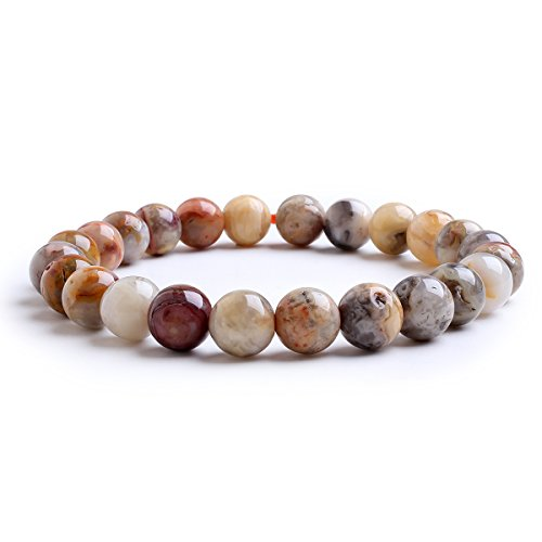 8mm Natural Crazy Agate Healing Elastic Beaded Stretch Bracelet Birthstone for 6-7.5 Inch Wrist Unisex (Crazy Lace Agate)