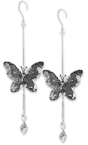 Hanging Butterfly Set - Set of 2 Butterflies with a Filigree Flower Design - Butterfly Decorations - 14 Inch long by Banberry Designs