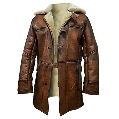 WARRIOR SOUL Mens Fur Coat Dark Knight Rises Tom Hardy RAF Bane Leather Jacket Coat