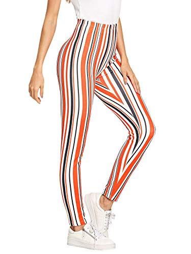 WDIRARA Women's Striped Print Capris Pants Elastic Waist Stretchy Yoga Leggings Multicolor L