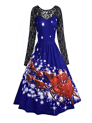 DBHAWK Women's Fashion Lace Stitching Long Sleeve Xmas Print Christmas Party Swing Dress for $<!--$1.29-->