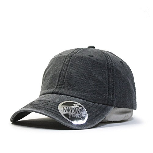 Plain Washed Cotton Twill Baseball Cap with Adjustable Velcro - Charcoal Gray (Cotton Twill Hat Washed)