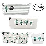 Cactus Pencil Case, 3 Pack Cactus Pastoral Pen Cases& 1 Pack Cute Canvas Cactus Coin Purse Pouch, Cosmetic Makeup Bag School Student Office Organizer, Washable, Set of 4