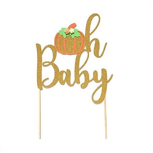 1 pc oh baby pumpkin cake topper gold glitter orange halloween theme boy girl fall autumn party