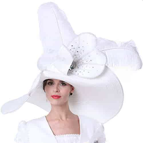 a07c9106 Kueeni Women Church Hats Outfits Hat Wedding White with Suits Available