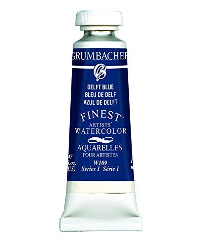 Grumbacher Finest Watercolor Paint, 14ml/0.47 oz., Delft Blue (W109) by Grumbacher