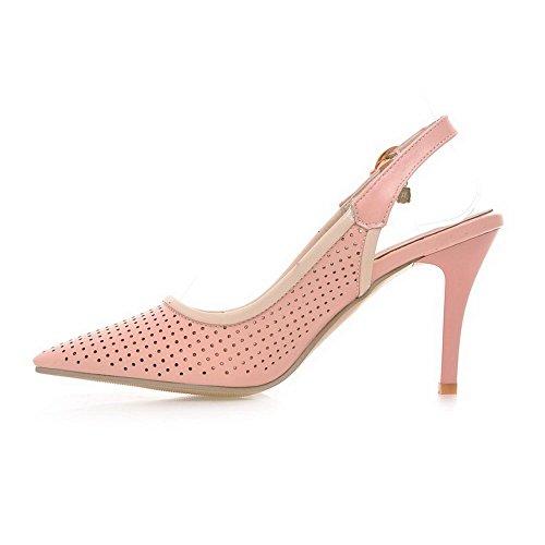 Balamasa Femmes Chaton-talons Style Roman Imité En Cuir Pompes-chaussures Rose