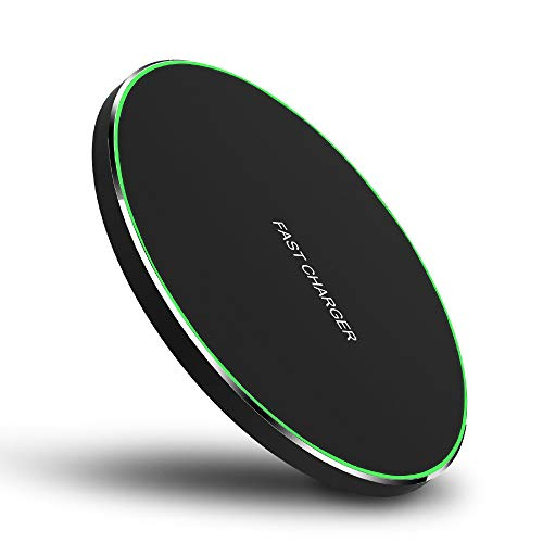 Hiapix Wireless Charger, 10W Qi Wireless Charging Pad Compatible with iPhone 11/11 Pro/11 Pro Max/Xs Max/XS/XR/X/8/8+, Samsung S10/S10+/S9/Note 10/Note 10+, 5W for All Qi-Enabled Phones(Black)