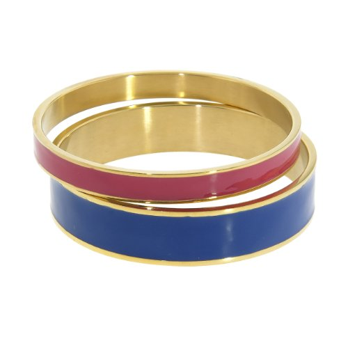 NYC Sterling Women Gold Tone Stainless Steel Enamel Bangle Set (Blue & Red)
