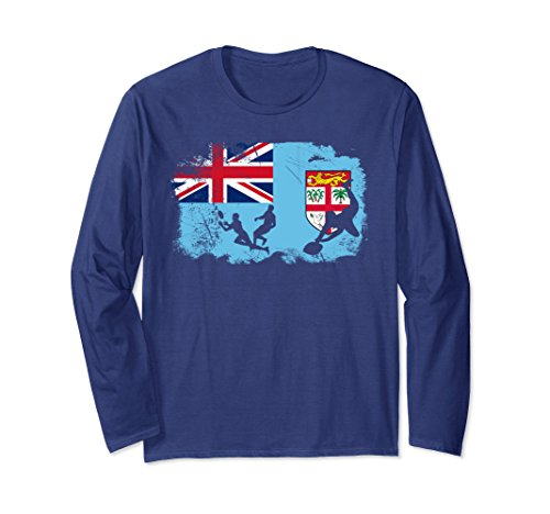 Flag Cotton Rugby Shirt - Unisex Fiji flag Rugby Long Sleeve T-Shirt Small Navy