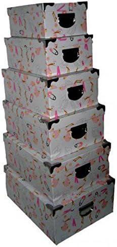 Set De 6 Cajas Cartón Decoradas Cigüeña Rosa con Tiradores y cantoneras metalicas: Amazon.es: Hogar