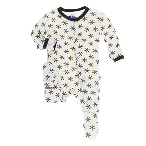 (Kickee Pants Little Boys Print Footie with Snaps - Natural Star Anise, 3-6 Months)