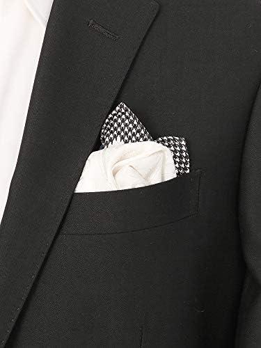 (ザ・スーツカンパニー) ジャカード織り シルクポケットチーフ ブラック×オフホワイト