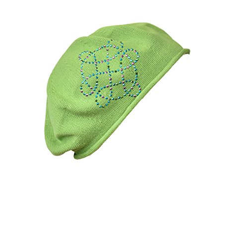 Apple Green Cotton Ladies Beret with Swirl Applique