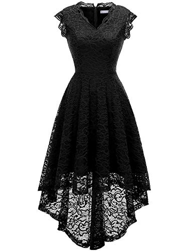 (MODECRUSH Womens Ruffle Sleeve Formal Hi Low Floral Lace Cocktail Party Dresses S)