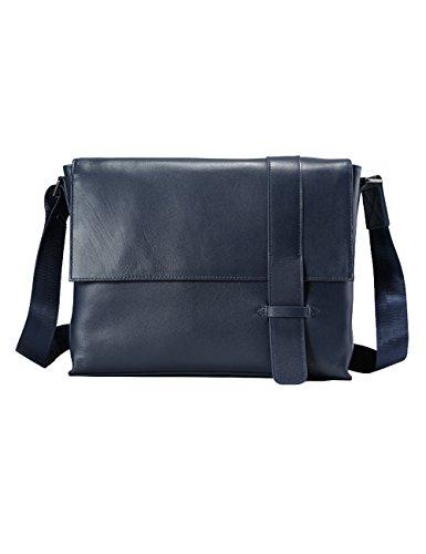 Blu Leather Bag - Men's Genuine Leather Crossbody Bag Briefcase Blue