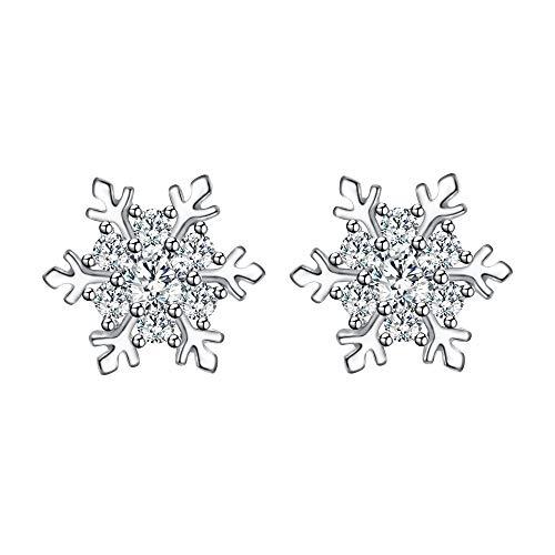 EVER FAITH 925 Sterling Silver Cubic Zirconia Winter Snowflake Flower Elegant Stud Earrings Clear (Snowflake Earrings Winter)