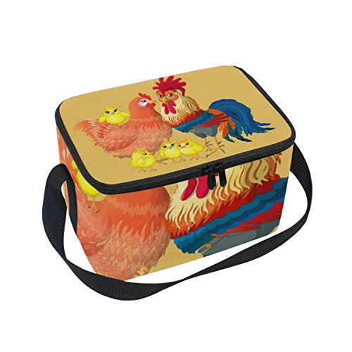 Lunch Bag Home Rooster, Large Insulated Bento Cooler Box with Black Shoulder Strap for Men Women Kids, BaLin 10