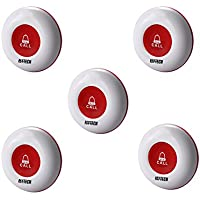 5PCS Wireless Call Buttons Waterproof Caregiver Call Button Signal Anti-interference and Long Range for Restaurant and Home Nursing,Cant Be Used Alone