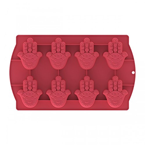 Dinner Icon - Icon Silicone Hamsa Hand of Fatima 8 Small Molds Cupcake Mold Pan Tray Soap RED