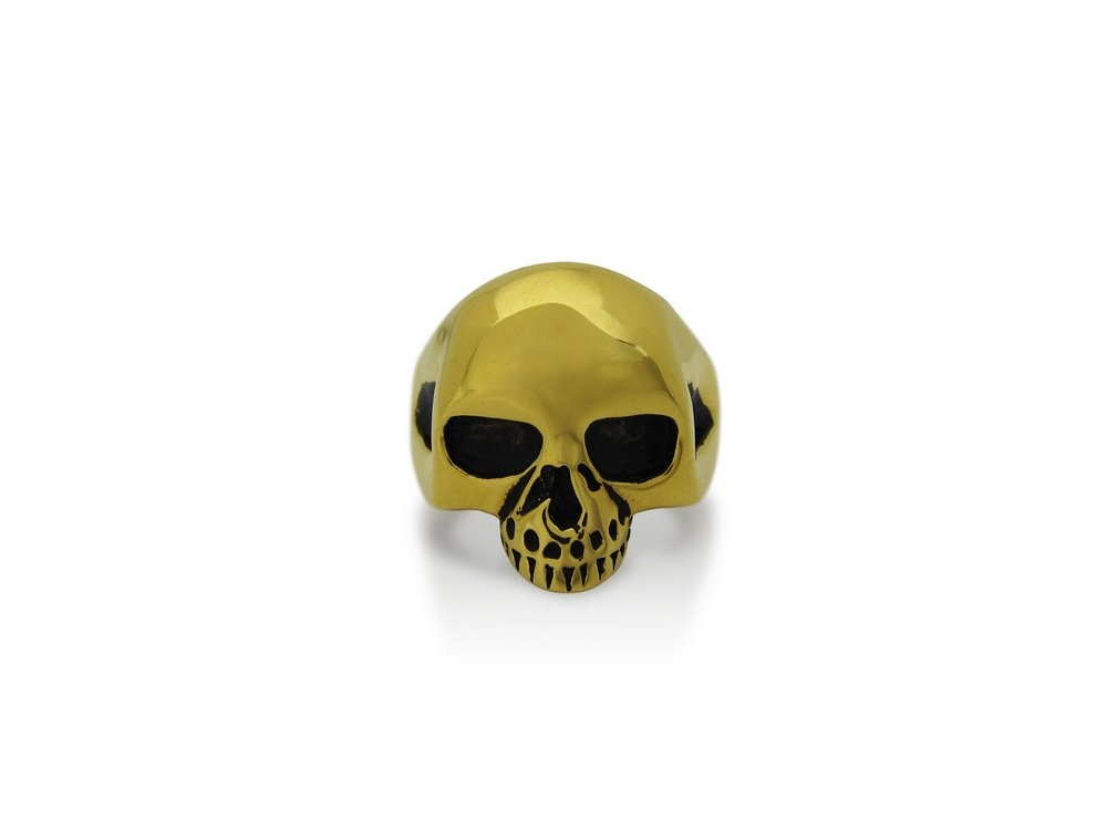 TheBikerMetal 316L Stainless Steel Golden Skull Ring for 81 Outlaw Harley TR147 (11)