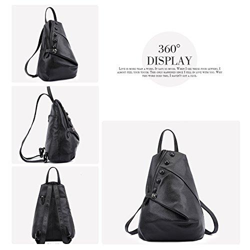 Yoome Frauen Rucksack stilvolle hohe Kapazität Daypack Crossbody Umhängetasche im freien Reisetasche schwarz Schwarz