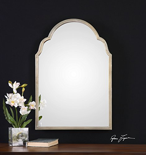 (Silver Shaped Arch Wall Vanity Mirror | Unusual Curved)