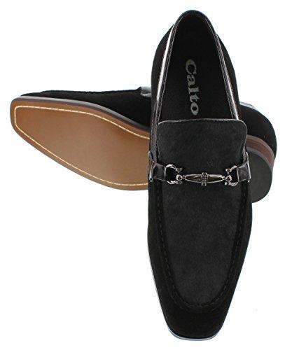 calto–g65031–7,6cm Grande Taille–Hauteur Augmenter Chaussures ascenseur (en nubuck en cuir noir à enfiler)