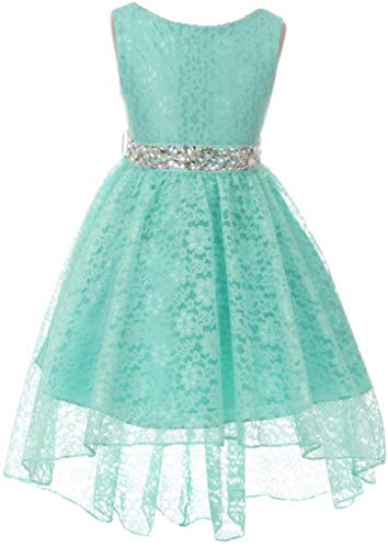 Big Girl Floral Lace Rhinestones Christmas Holiday Easter Flower Girl Dress Mint 16 MBK360